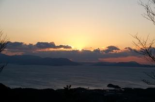 貝殻山展望台から見た日の出直後の初日の出